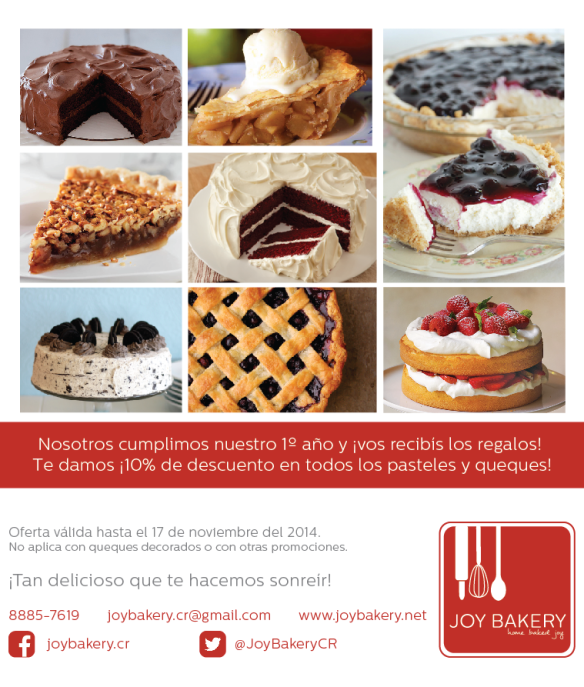 Promo 1er cumple - Joy Bakery